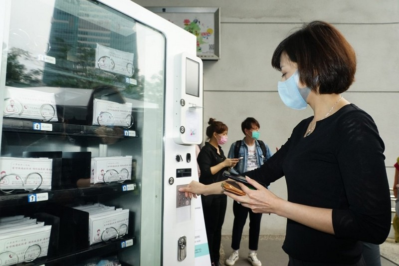 Taipei launches ID-based mask vending machines
