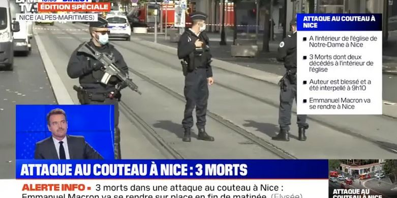 Knife attacker in Nice, France, decapitated a woman in a church and killed 2 others, a week after another beheading in Paris